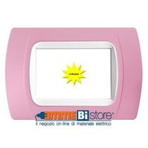 Placca Rosa 4 posti per LivingLight con adattatore Bianco Cal
