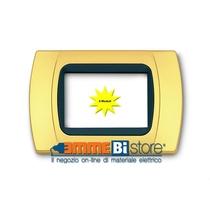 Placca Oro Opaco 4 posti per Bticino LivingLight con adattatore Nero Cal