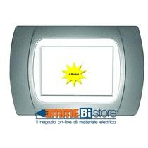 Placca Cromo Opaco 4 posti per Bticino LivingLight con adattatore Bianco Cal