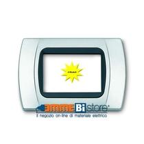 Placca Cromo Opaco 4 posti per Bticino LivingLight con adattatore Nero Cal