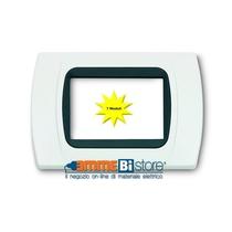 Placca Bianca 7 posti per Bticino LivingLight con adattatore Nero Cal