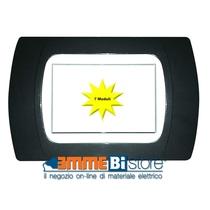Placca Antracite Metallizzata 7 posti per Bticino LivingLight con adattatore Bianco Cal