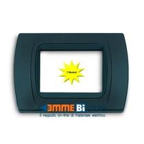 Placca Antracite Metallizzata 7 posti per Bticino LivingLight con adattatore Nero Cal