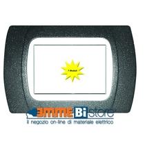 Placca Grigio Ardesia 7 posti per Bticino LivingLight con adattatore Bianco Cal