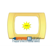Placca Oro Opaco 7 posti per Bticino LivingLight con adattatore Bianco Cal