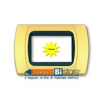 Placca Oro Opaco 7 posti per Bticino LivingLight con adattatore Nero Cal