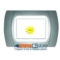 Placca Cromo Opaco 7 posti per Bticino LivingLight con adattatore Bianco Cal