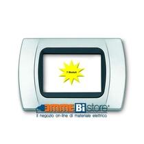 Placca Cromo Opaco 7 posti per Bticino LivingLight con adattatore Nero Cal