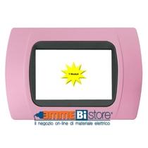 Placca Rosa 7 posti per LivingLight con adattatore Nero Cal