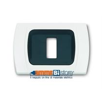 Placca Bianca 1 posto per Bticino Magic con adattatore Cal
