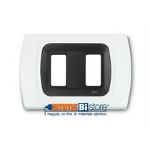 Placca Bianca 2 posti per Bticino Magic con adattatore Nero Cal
