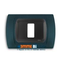 Placca Antracite Metallizzata 1 posto per Bticino Magic con adattatore Cal