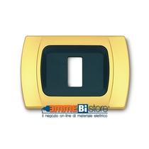 Placca Oro Opaco 1 posto per Bticino Magic con adattatore Cal