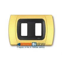 Placca Oro Opaco 2 posti per Bticino Magic con adattatore Cal