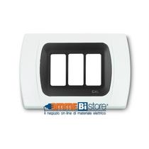 Placca Bianca 3 posti per Bticino Magic con adattatore Nero Cal