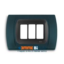 Placca Antracite Metallizzata 3 posti per Bticino Magic con adattatore Cal