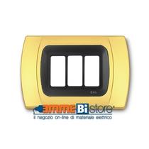 Placca Oro Opaco 3 posti per Bticino Magic con adattatore Cal