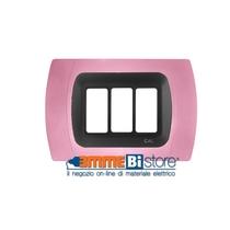 Placca Rosa 3 posti per Bticino Magic con adattatore Cal