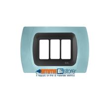 Placca Azzurro 3 posti per Bticino Magic con adattatore Cal