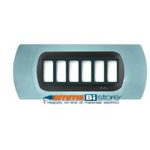 Placca Azzurro 6 posti per Bticino Magic con adattatore Cal