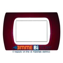 Placca Amaranto 3 posti per Bticino Living e Light con adattatore Bianco Cal
