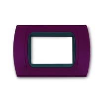 Placca Amaranto 3 posti per Bticino Living e Light con adattatore Nero Cal