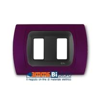 Placca Amaranto 2 posti per Bticino Magic con adattatore Cal