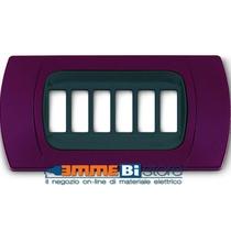 Placca Amaranto 7 posti per Bticino Magic con adattatore Cal