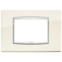 Placca Vimar Eikon Classic 3 Moduli bianco antico con cornicetta cromata 20653.C02