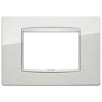 Placca Vimar Eikon Classic 3 Moduli argento metal cornice cromo 20653.C10