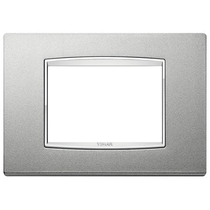 Placca Vimar Eikon Classic 3 posti metallo, argento matt con cornice cromata 20653.C13
