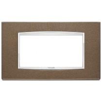 Placca Vimar Eikon Classic 4 Moduli metallo siena metal 20654.C11