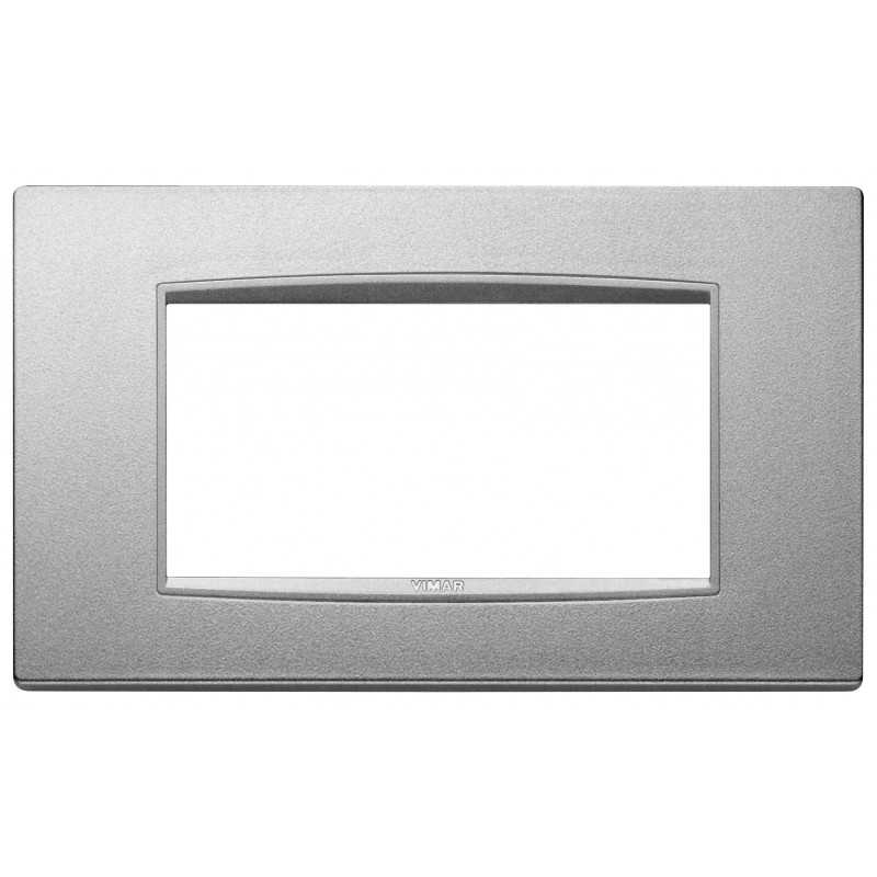 Placca Vimar Eikon Classic 4 Moduli metallo argento matt 20654.N14