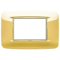 Placca Vimar Eikon Round 3 Moduli oro lucido con cornice dorata 20683.G24