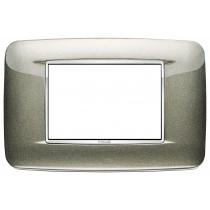 Placca Vimar Eikon Round 3 Moduli titanio metal cornice cromo 20683.C08