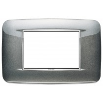 Placca Vimar Eikon Round 3 Moduli grigio metallo atlantic metal 20683.C09