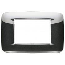Placca Vimar Eikon Round 3 Moduli antracite metal cornice cromo 20683.C12
