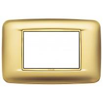 Placca Vimar Eikon Round 3 Moduli oro satinato cornice dorata 20683.G21