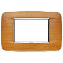 Placca Vimar Eikon Round 3 Moduli legno ciliegio americano 20683.c36