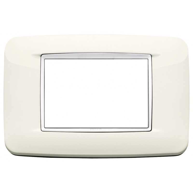 Placca Vimar Eikon Round 3 Moduli bianco artico cornice bianca 20683.B01
