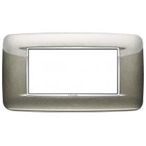 Placca Vimar Eikon Round 4 Moduli titanio metal cornice cromo 20684.C08