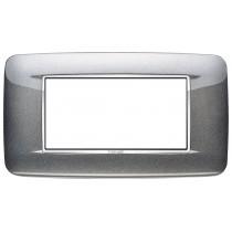 Placca Vimar Eikon Round 4 Moduli grigio atlantic metal  20684.C09