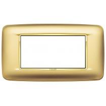 Placca Vimar Eikon Round 4 Moduli oro satinato cornice dorata 20684.G21