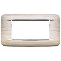 Placca Vimar Eikon Round 4 Moduli legno naturale cornice cromo 20684.C32