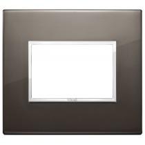 Placca Vimar Eikon Evo Alluminio Nero Zaffiro  3 moduli 21653.06