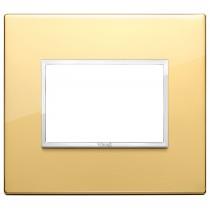 Placca Vimar Eikon Evo Alluminio Oro Lucido 3 moduli codice 21653.09