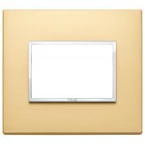 Placca Vimar Eikon Evo Alluminio Oro Satinato  3 moduli codice 21653.10