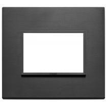 Placca Vimar Eikon Evo Alluminio Nero totale  3 moduli 21653.18