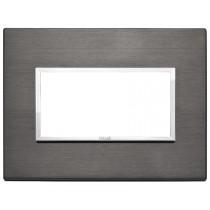 Placca Vimar Eikon Evo Alluminio Grigio lava  4 moduli codice 21654.03