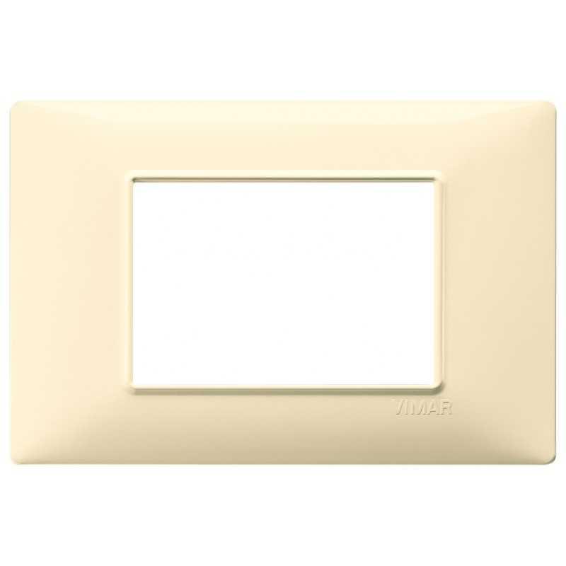 Placca Vimar Plana 3 moduli crema in tecnopolimeto codice 14653.04